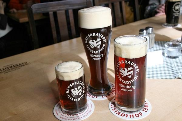 Verschiedene Biersorten der Hausbrauerei Altstadthof Nürnberg